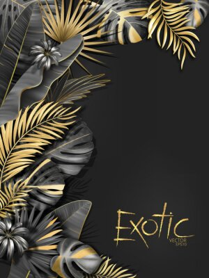 Väggdekor Vector exotical background with black and gold tropical leaves on dark gray background. Luxury exotic botanical design for spa, perfume,cosmetics, aroma, beauty salon etc.