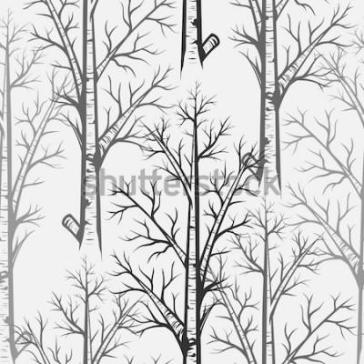 Väggdekor Vector Gray Birch Tree Seamless Pattern