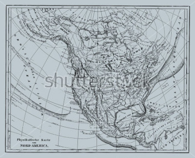 Väggdekor Vector Historical map of Nord America from atlas published in 1851. Other vector maps in my portfolio.