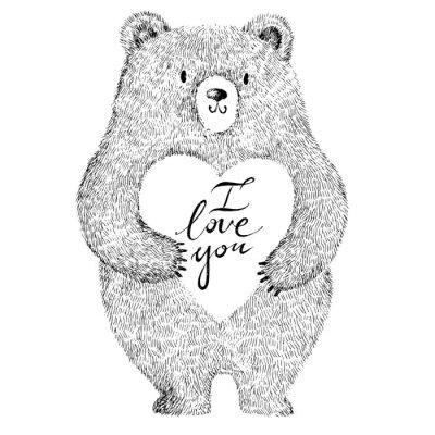 Väggdekor Vector illustration med bedårande söt björn