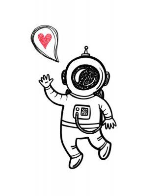 Väggdekor Vector illustration med klotter astronaut