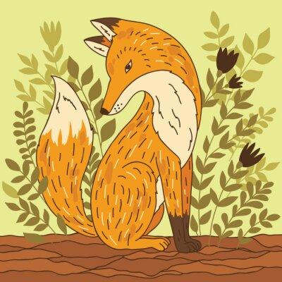 Väggdekor Vector illustration med räv
