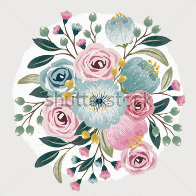 Väggdekor Vector illustration of a beautiful floral bouquet with spring flowers for invitations and birthday cards