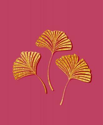 Väggdekor Vector illustration of ginkgo biloba leaves. Background with golden leaves. Ginkgo branches for invitations