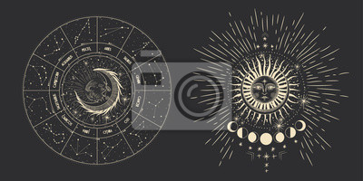 Väggdekor Vector illustration set of moon phases. Different stages of moonlight activity in vintage engraving style. Zodiac Signs