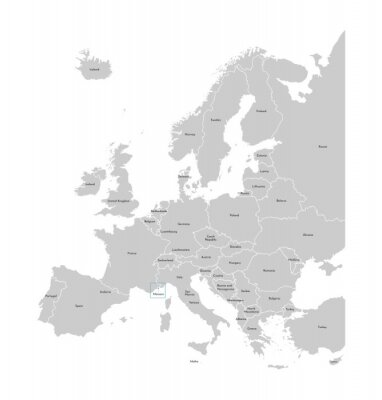 Väggdekor Vector illustration with simplified map of Europe with blue contour of Monaco. Grey silhouettes, white outline of states' border
