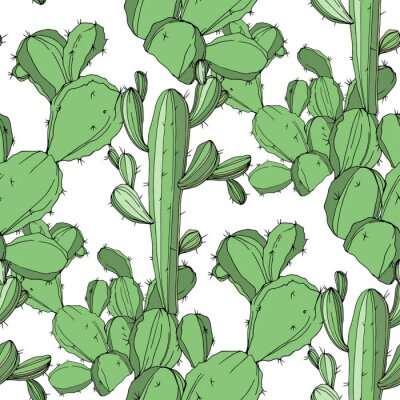 Väggdekor Vector kaktus. Grön graverad bläckkonst. Sömlös bakgrundsmönster. Tyg tapettryck textur.