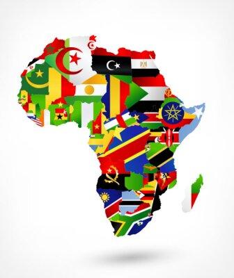 Väggdekor Vector karta över Afrika med flaggor och var på världskartan