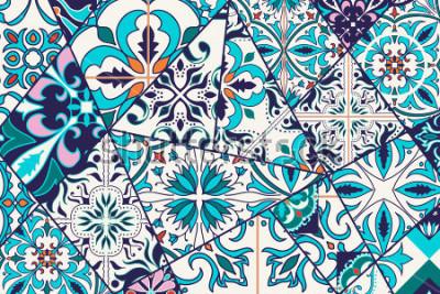 Väggdekor Vector ornamenta bakgrund. Mosaik lapptäckmonster för design och mode. Portugisiska plattor, Azulejo, marockanska smycken