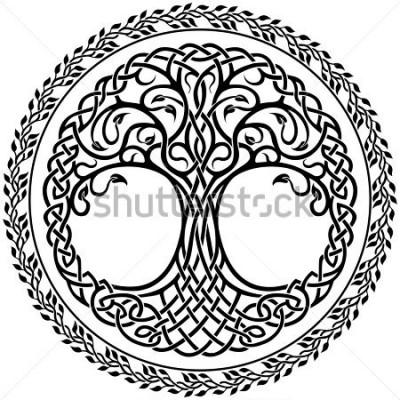 Väggdekor Vector prydnad, dekorativ Keltisk träd av livet med blummig runda gränsen