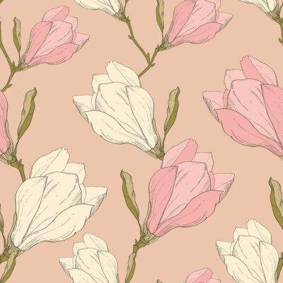 Väggdekor Vector rosa tappning Magnolia blommor tyg retro Upprepa Seamless räcker utdraget i Botanical Style. Perfekt för tyg, tapet, Packaging, bakgrunder, hälsningskort.