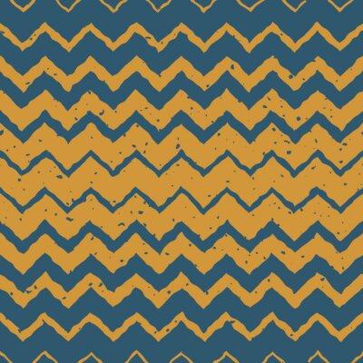 Väggdekor Vector Seamless Blå Gul färg handritad horisontell gradient halvton ZigZag Förvrängd Lines Grungy etniska mönster