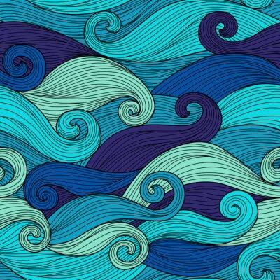 Väggdekor Vector seamless med abstrakta vågor
