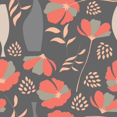 Väggdekor Vector seamless med blommiga inslag, vårblommor, po
