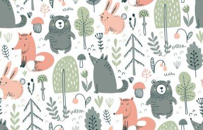 Väggdekor Vector seamless pattern with hand drawn wild forest animals,