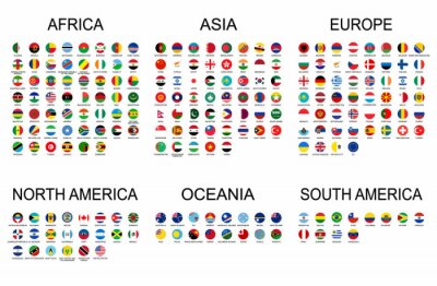 Väggdekor Vector set official national flags of the world. Country round shape flags collection with detailed emblems.