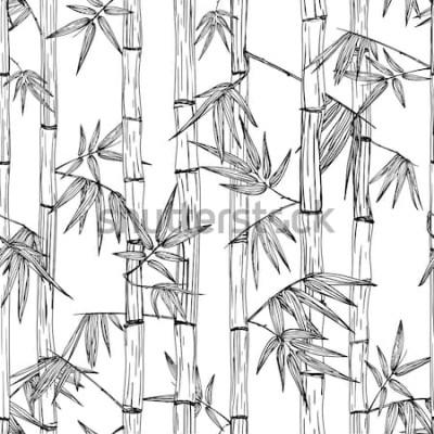 Väggdekor Vector sömlös bambuskog mönster. Svartvit handritad skissbakgrund. Design för mode textiltryck, asiatisk spa och massage, kosmetika-paket, möbelmaterial.