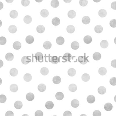 Väggdekor Vector sömlösa mönster av grå akvarell cirklar på en vit bakgrund