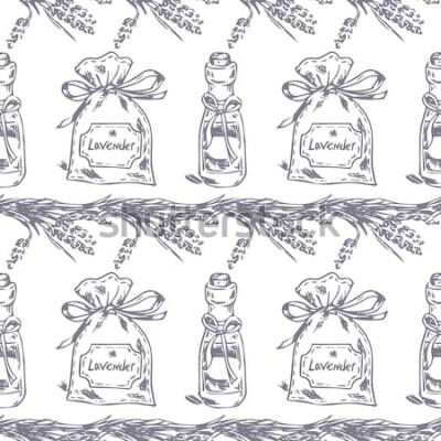 Väggdekor Vector sömlösa mönster. Lavendeltema för Provence. Mönster med grafisk lavendels påse och olja. Digital dragen illustration i lila färg. Tappningmodell av lavendelbeståndsdelar som isoleras på vit.