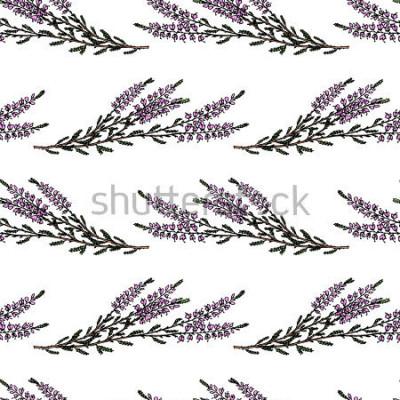 Väggdekor Vector sömlösa monster med handgjorda ljung filialer. Vackra blommiga designelement, perfekt för utskrifter och mönster.
