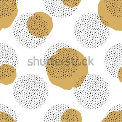 Väggdekor Vector sömlösa mönster med runda prickade element och gyllene cirklar. Trendig memphis bakgrund.
