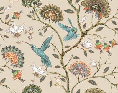 Väggdekor Vector sömlösa mönster med stiliserade blommor och fåglar. Blomstra trädgården med kolibrier och växter. Ljus blommig tapet. Design för tyg, textil, tapeter, omslag, omslagspapper.
