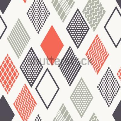 Väggdekor Vector sömlösa mönster. Modern snygg struktur. Geometrisk prydnad med färgglada romber