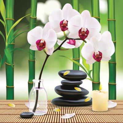 Väggdekor Vector Vackra Spa Sammansättning med Zen Stones