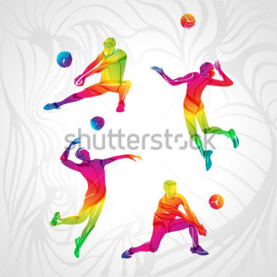 Väggdekor Vector volleyball silhouettes rainbow collection