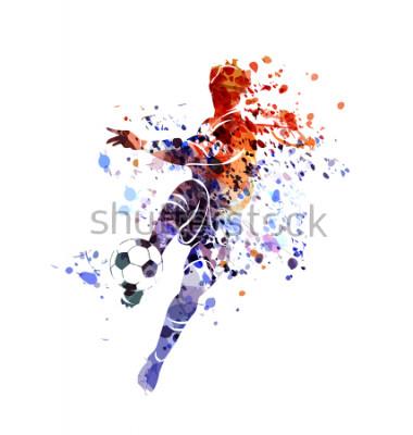 Väggdekor Vector watercolor silhouette soccer player