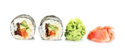 Väggdekor Vegetariska sushi rullar isolerade på vit