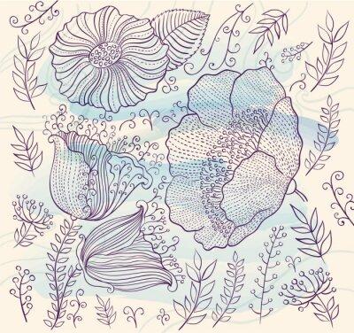 Väggdekor Vektor bakgrund med vackra blommor och blad
