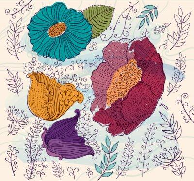 Väggdekor Vektor bakgrund med vackra färgglada blommor och blad