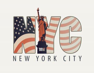Väggdekor Vektor banner med bokstäverna NYC med bilden av amerikanska flaggan och Frihetsgudinnan på ljus bakgrund