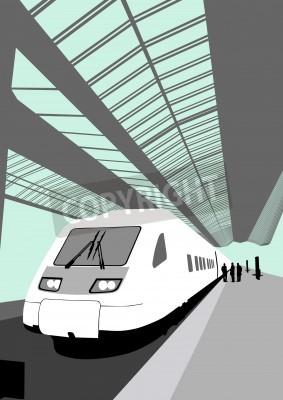 Väggdekor Vektor bild av ett modernt höghastighetståg på järnvägsstationen