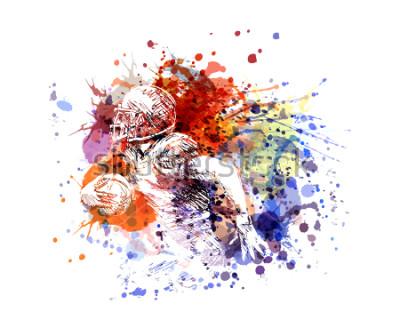Väggdekor Vektor färgillustration amerikansk fotbollsspelare
