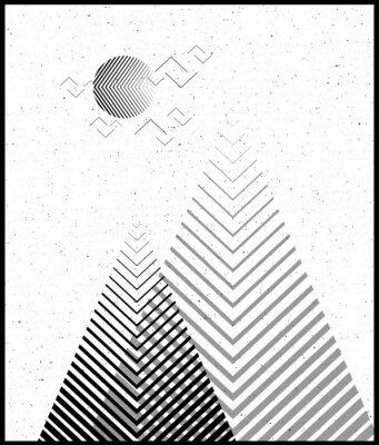 Väggdekor Vektor geometrisk triangeln bakgrund, abstrakta mountains.Conceptual bakgrund, med mountains.Flat design, med minimala element. Använd för kort, affisch, broschyr, banner. Svart och vitt Interiör skri