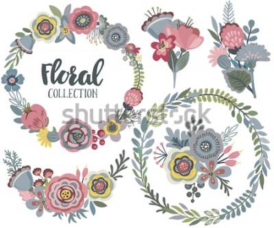 Väggdekor Vektor grafisk uppsättning med vackra blommor, blomkrans, buketter. Färgrik samling för hälsning, spara datumkort, bröllopsinbjudningar
