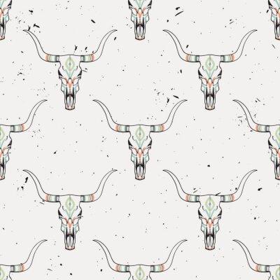 Väggdekor Vektor grunge seamless med tjurskalle och etnisk prydnad