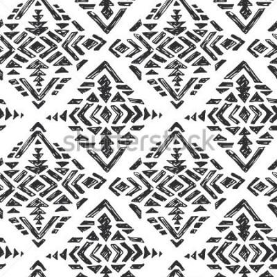Väggdekor Vektor handgjord etnisk sömlös mönster med stam abstrakta element i svart vit doodle skiss stil
