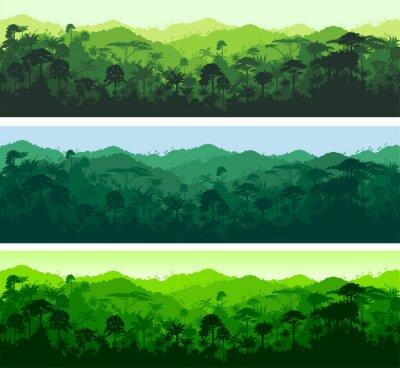 Väggdekor Vektor horisontell seamless tropisk regnskog djungel bakgrund