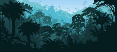 Väggdekor Vektor horisontell tropisk regnskog djungel bakgrund