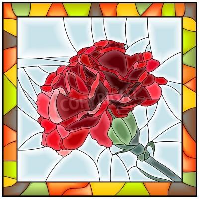 Väggdekor Vektor illustration av blomma röd nejlika blyinfattade fönster med ram