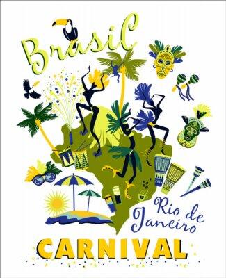 Väggdekor Vektor illustration av brasiliansk karneval.
