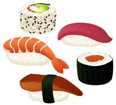 Väggdekor Vektor illustration av en mängd olika sushi.
