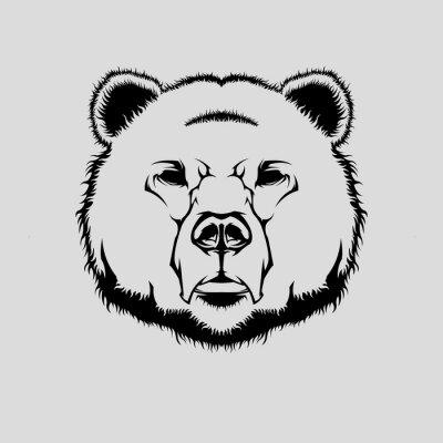 Väggdekor Vektor illustration av grizzlybjörn huvud
