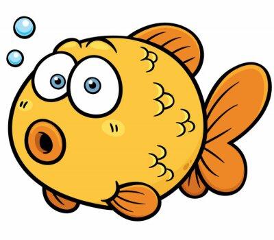 Väggdekor Vektor illustration av guldfisk