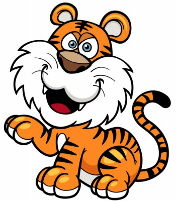 Väggdekor Vektor illustration av Tiger tecknad