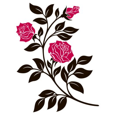 Väggdekor vektor illustration, dekoration element, svart och vit ros gren med röda blommor