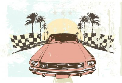Väggdekor Vektor illustration - Höghastighets racingbil på grunge bakgrund